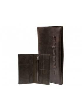 Портмоне из кожи на скрытых магнитах Вояж-2-A дымчато-коричневое Apache