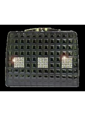 Кошелек натуральная кожа лаковый Сваровски стразы РК-1 black ice Kniksen