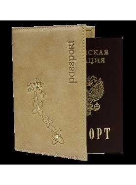 Обложка на паспорт ОПВ бежевый Мэри друид