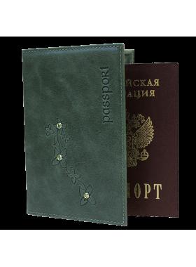 Обложка для паспорта ОПВ- Мэри женская друид зеленый Kniksen