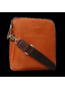 Сумка мужская из натуральной кожи СМ-9813-А рыжая Apache